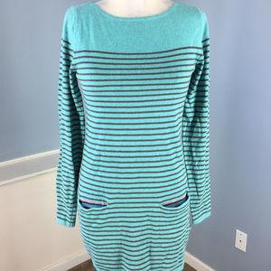 Boden S 2 4 Aqua Blue Gray stripe Tunic long sleev